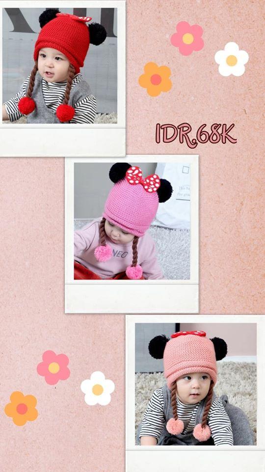 pakaian anak import BEANIE GIRL POLKA KUPING MICKEY