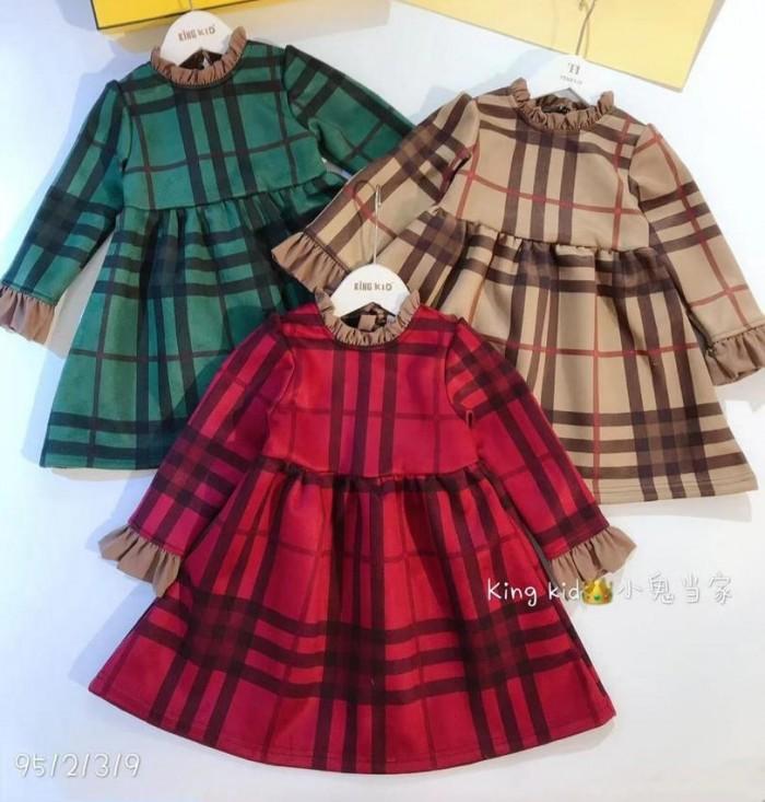 pakaian anak import DRESS EXCLUSIVE KOTAK LENGAN PANJANG