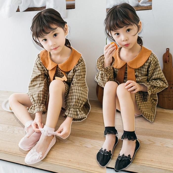 pakaian anak import KAUS KAKI TRANSPARANT POLOS RENDA