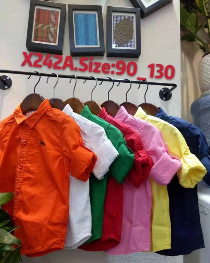 pakaian anak import KEMEJA PANJANG POLOS JUNIOR