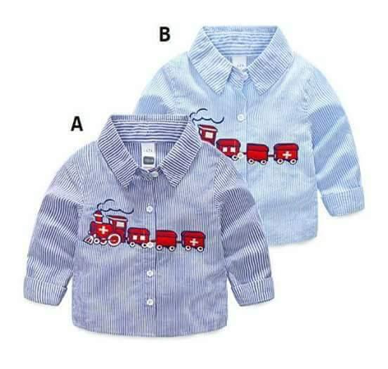 pakaian anak import KEMEJA PANJANG RED TRAIN