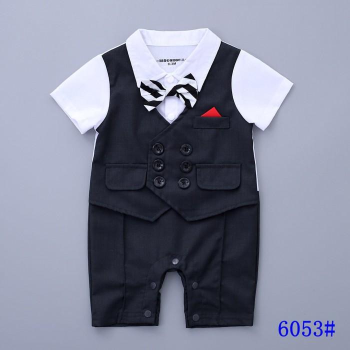 pakaian anak import ROMPER GENTLEMAN DASI KUPU HITAM PUTIH