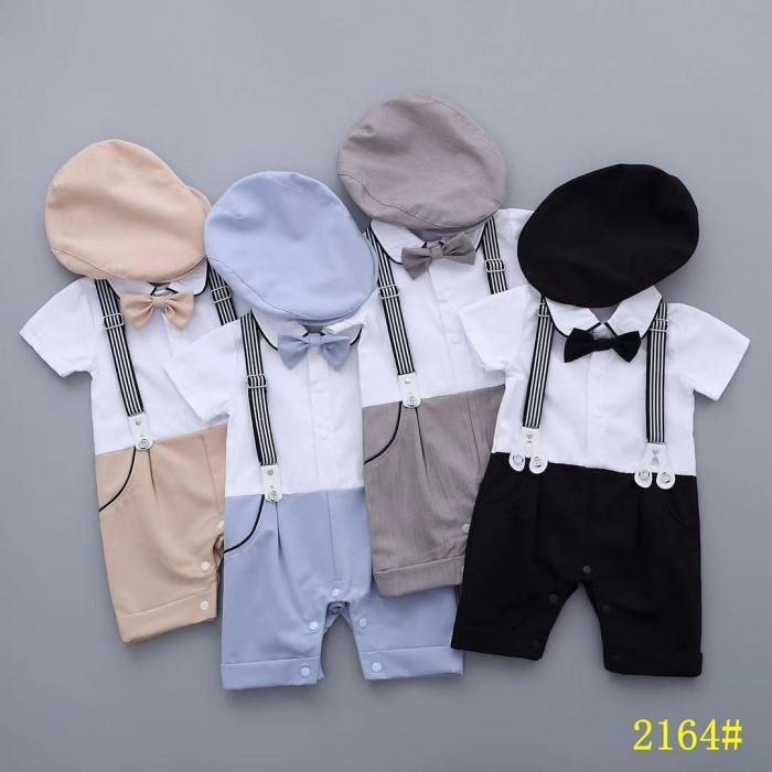 pakaian anak import ROMPER GENTLEMAN SUSPENDER DASI KUPU