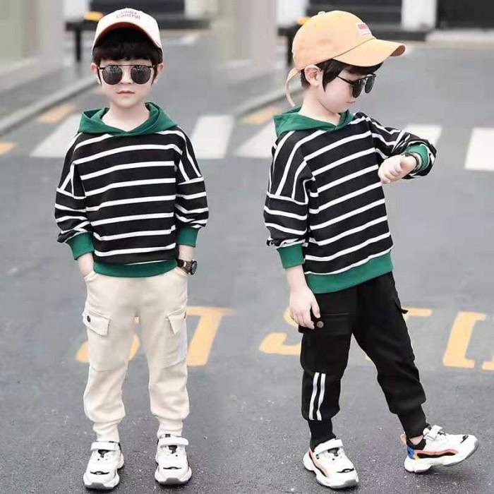 pakaian anak import SETELAN GARIS