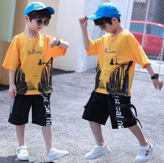 pakaian anak import SETELAN PENDEK KUNING